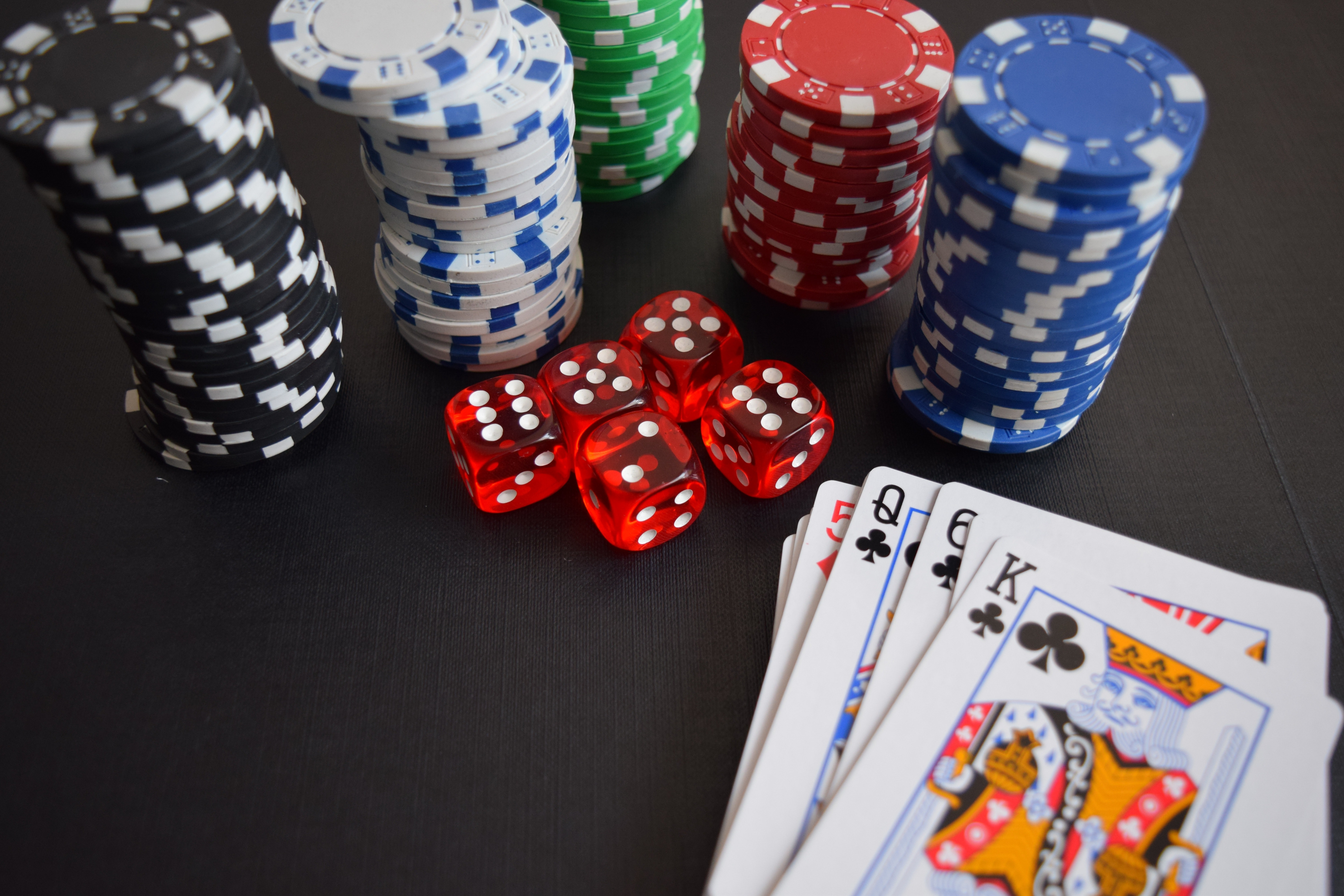 Playing Card And Poker Chips And Dices Free Stock Photo