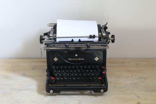 復古打字機, 打字機, 空白頁, 賓士 的 免费素材照片