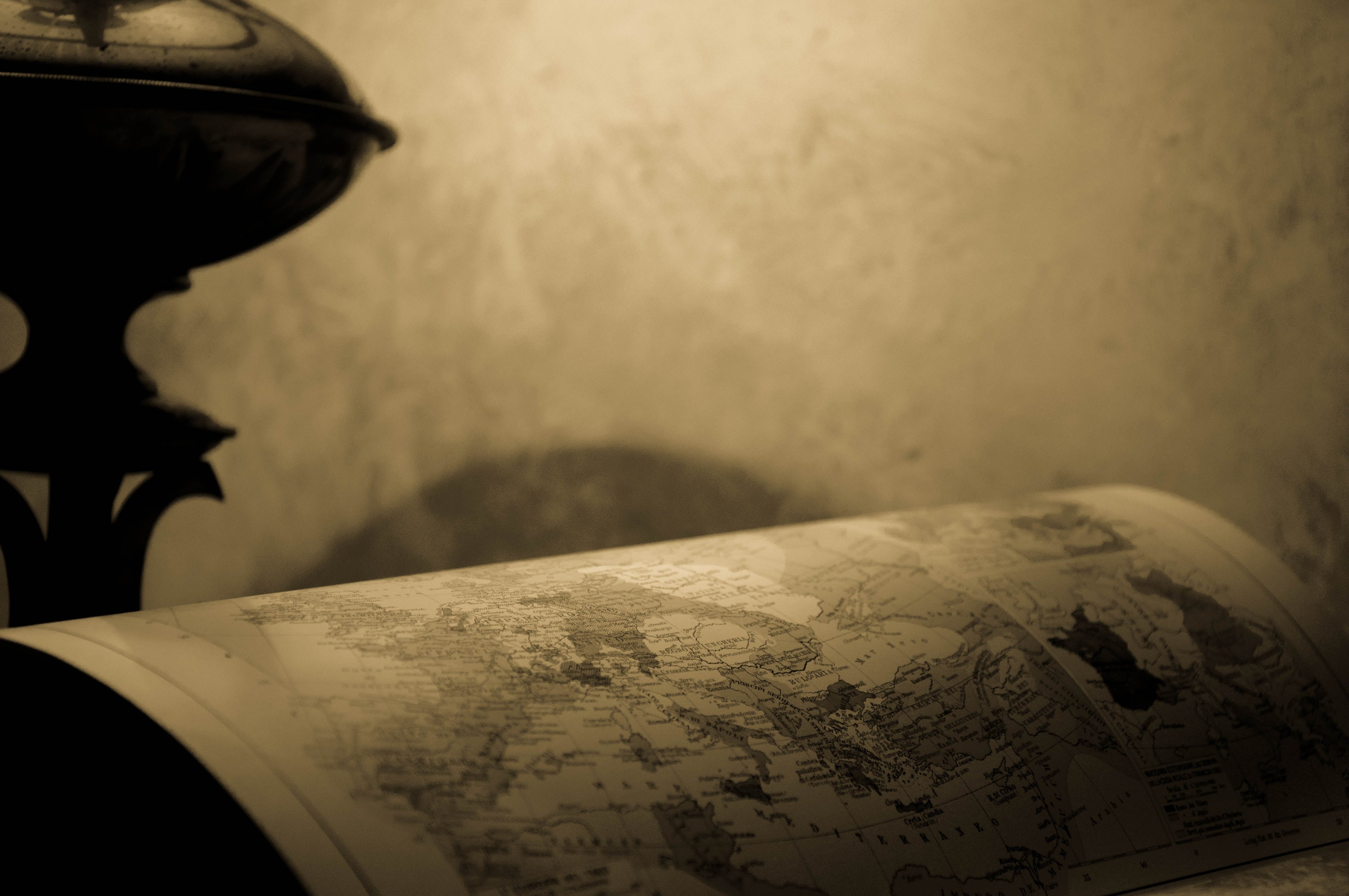 Free stock photo of black-and-white, lamp, map, ancient