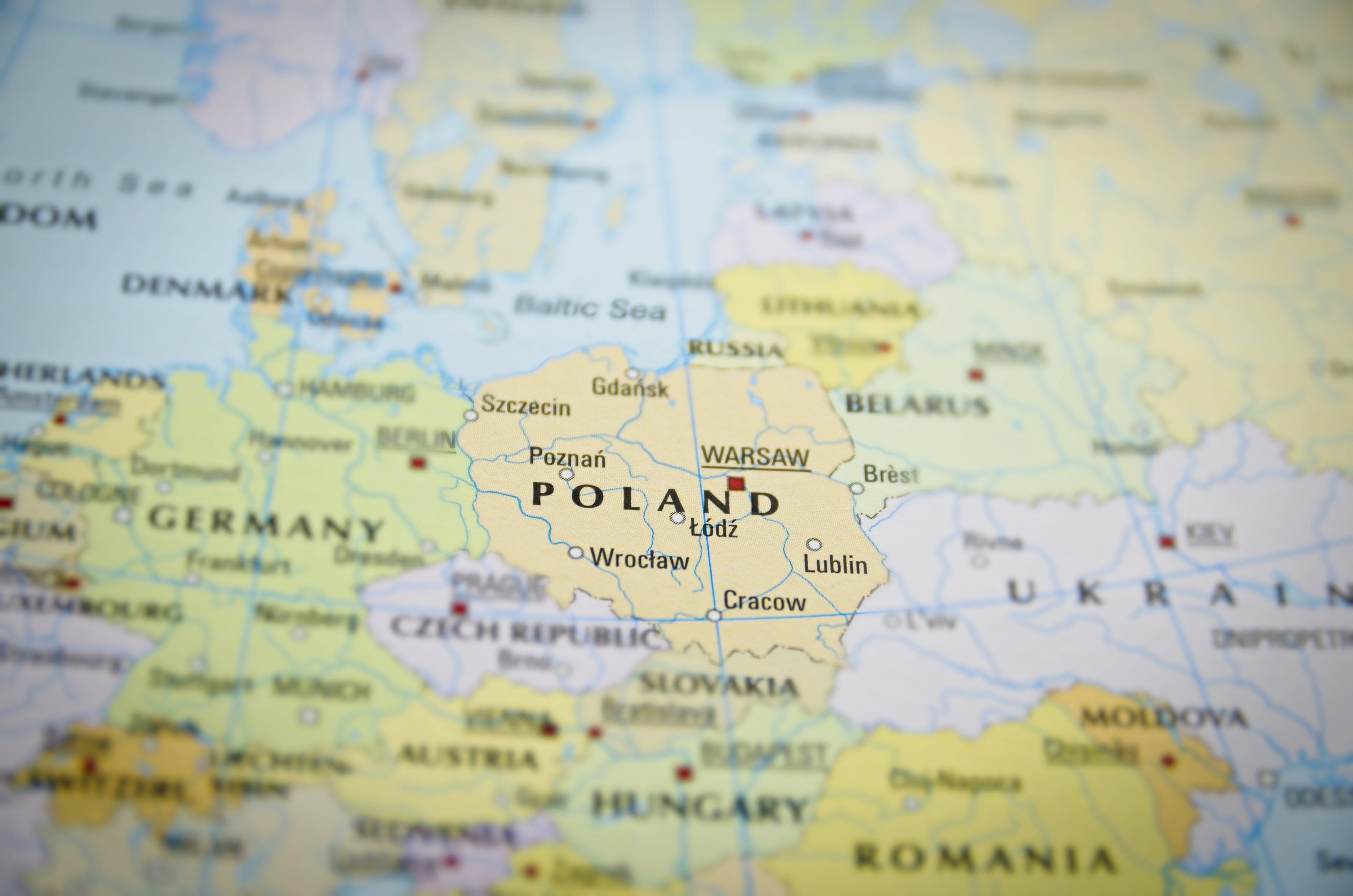 Close-up of Poland Map