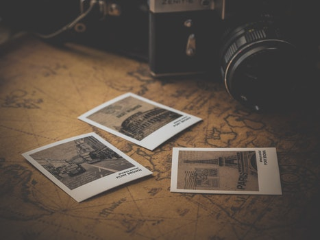 Free stock photo of camera, classic, antique, map