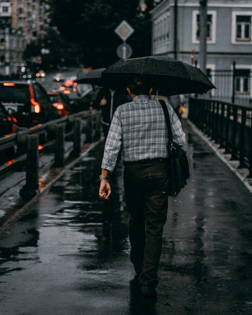 Man Walking With Umbrella