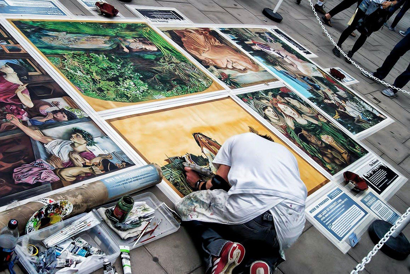 Free stock photo of city, street, painting, crowd