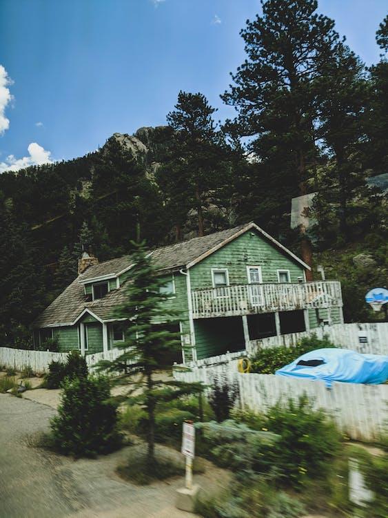 fjell, hus, retro