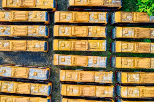 aerial view of parked buses