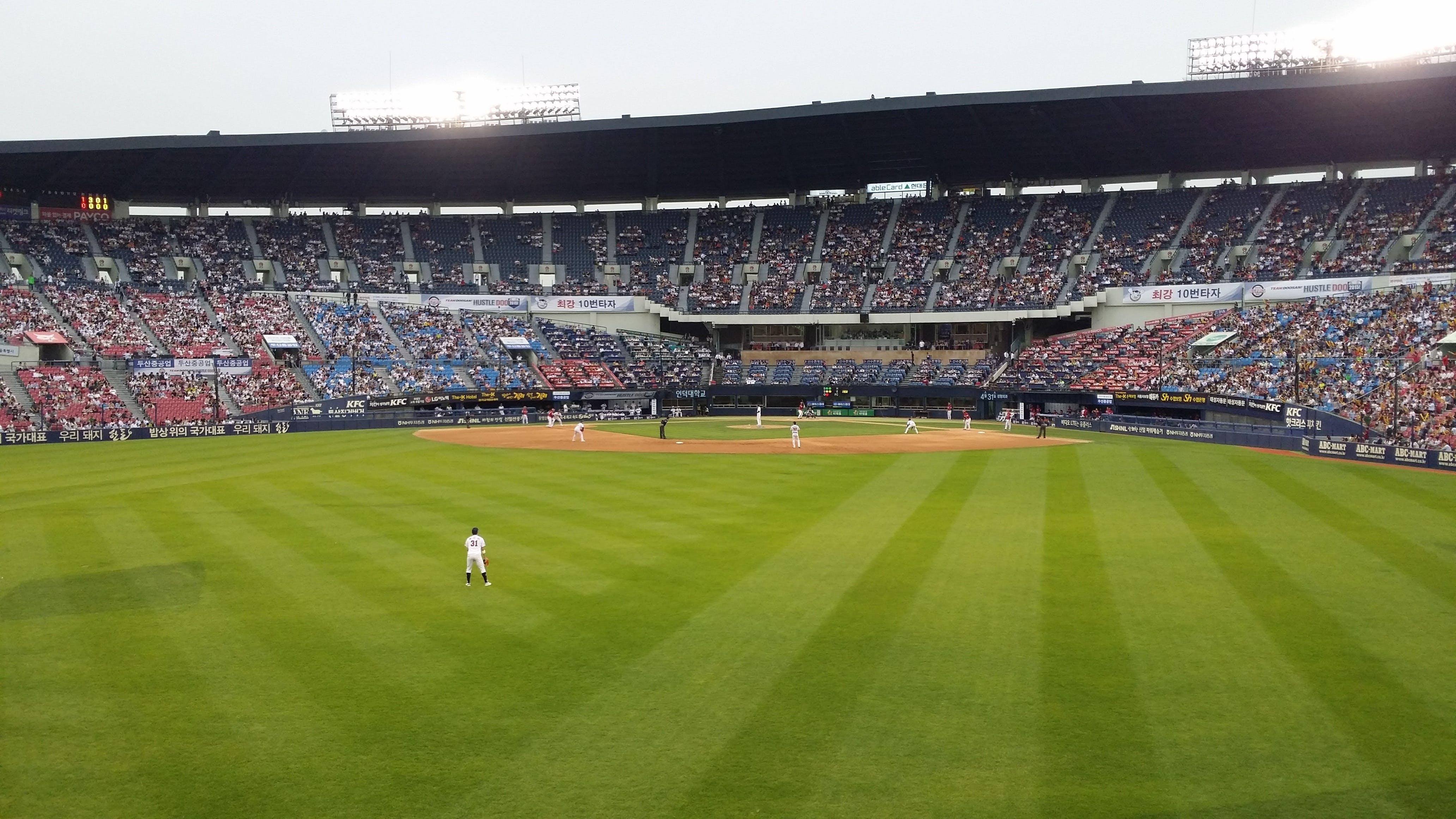 bình, bóng chày, cánh đồng
