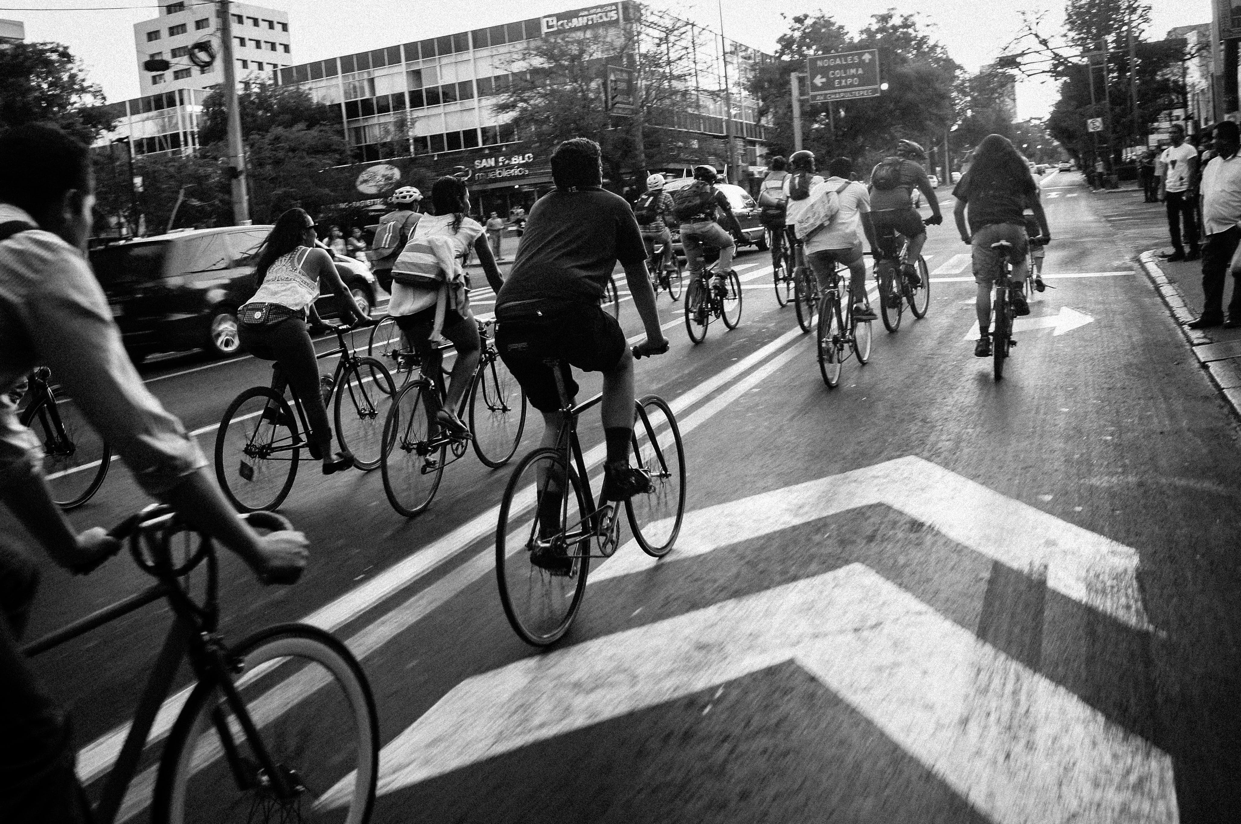 People Riding Bicycles on Street