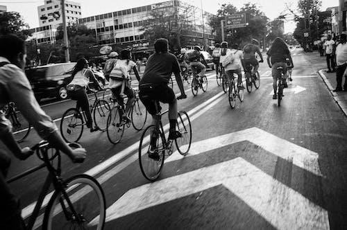 Δωρεάν στοκ φωτογραφιών με Άνθρωποι, ασπρόμαυρο, δρόμος, ποδήλατα