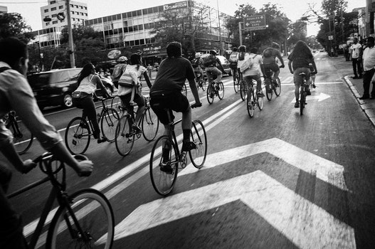 Free stock photo of black-and-white, road, people, street