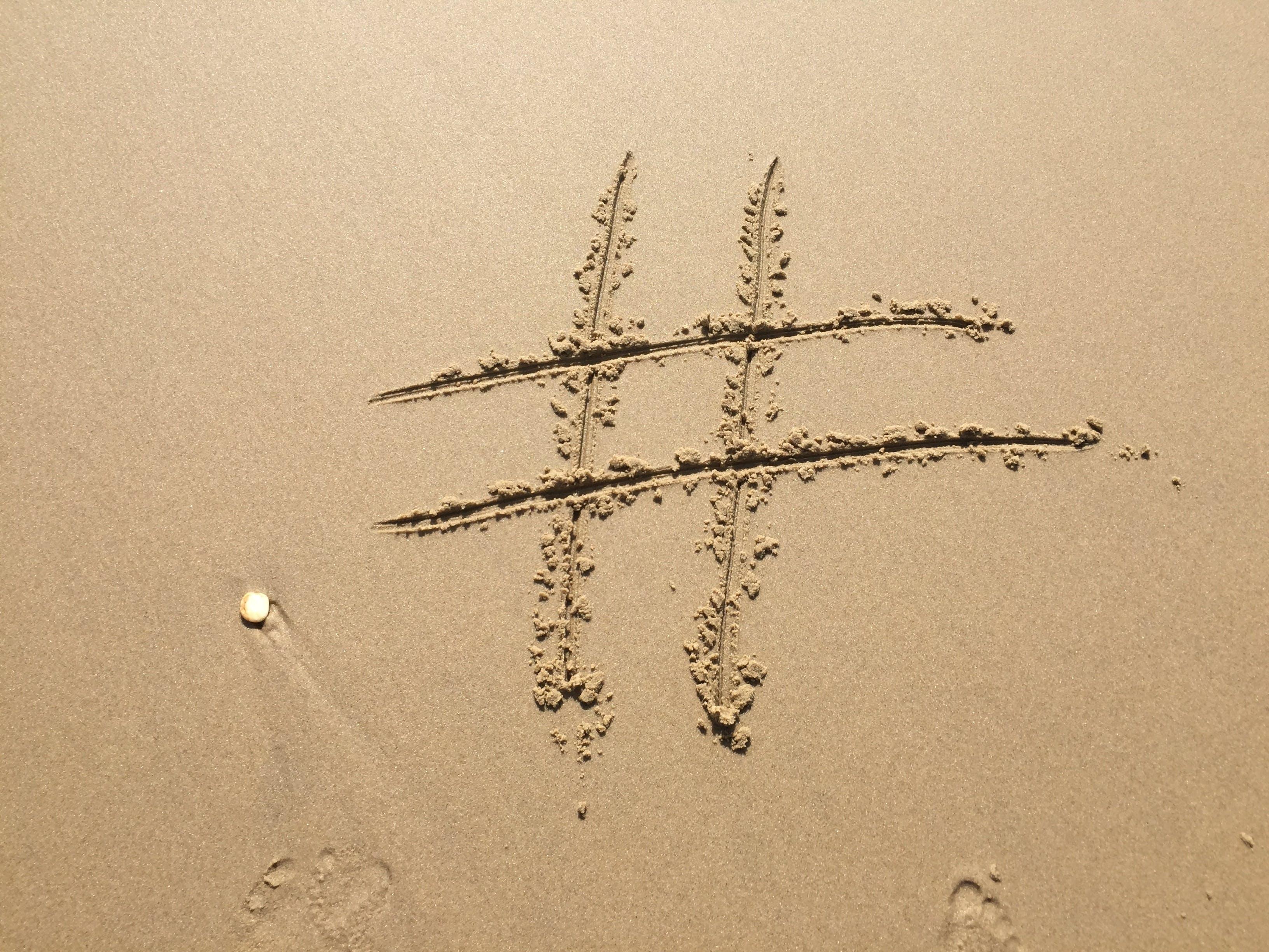 beach, footprint, hashtag
