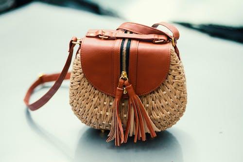 çanta, deri, dokuma, sepet içeren Ücretsiz stok fotoğraf