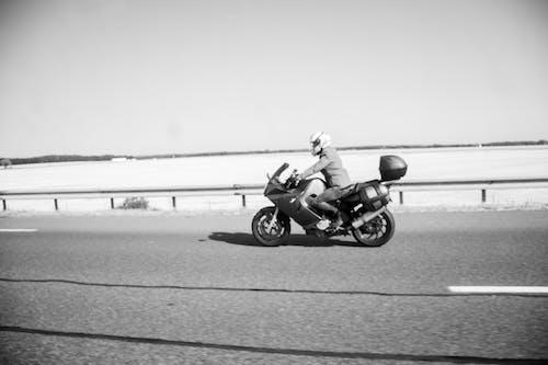 Free stock photo of adventurer, bike rider, black and white, desert