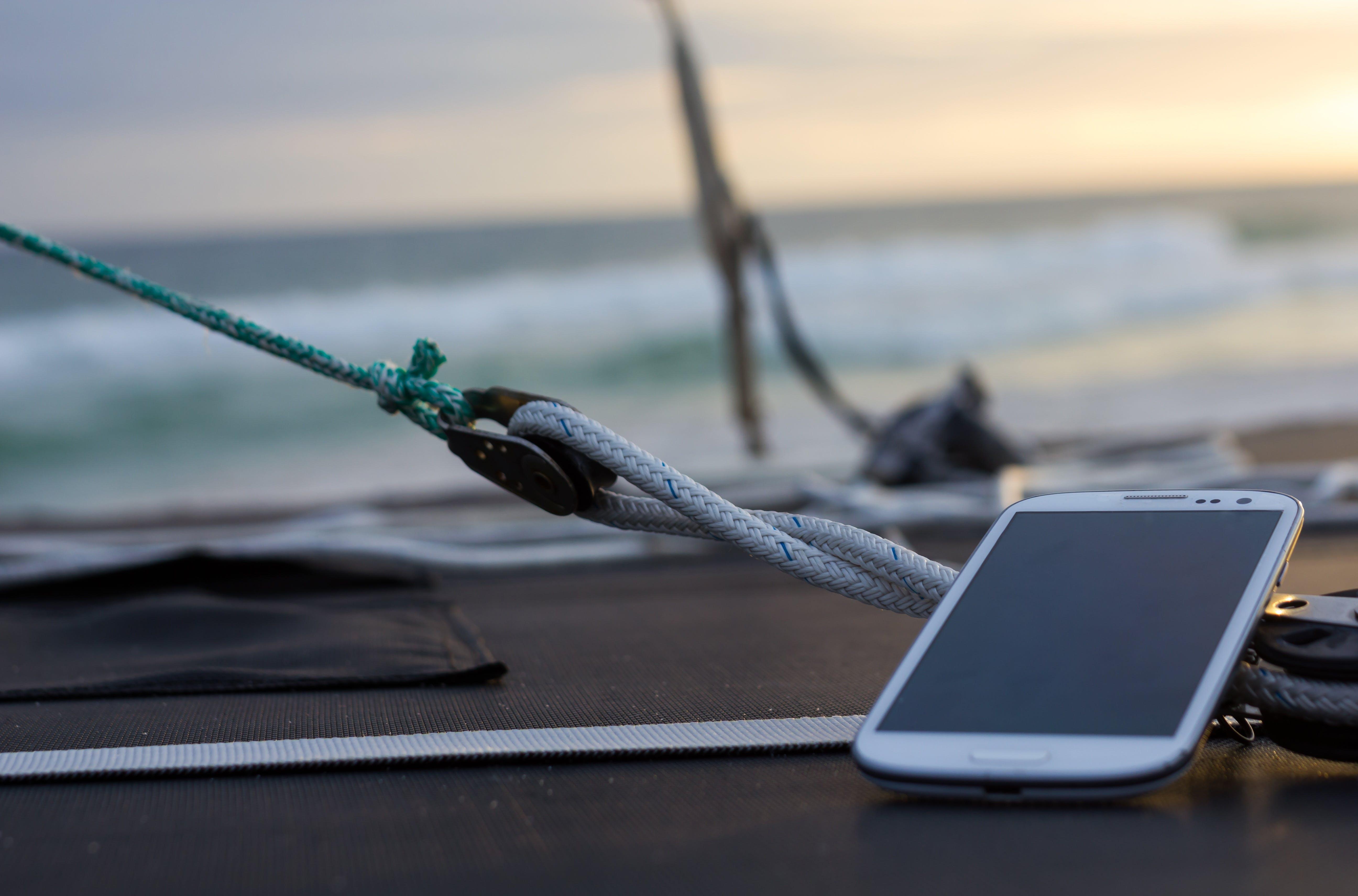 beach, boat, mobile phone