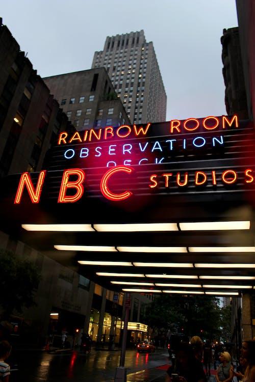 Free stock photo of lights, manhattan, NBC studios, neon