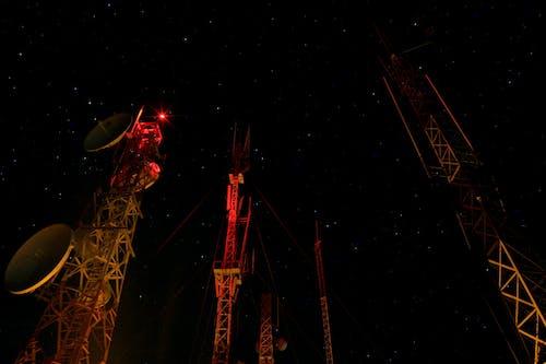 คลังภาพถ่ายฟรี ของ กลางคืน, ดวงดาว, สีแดง, อาคาร