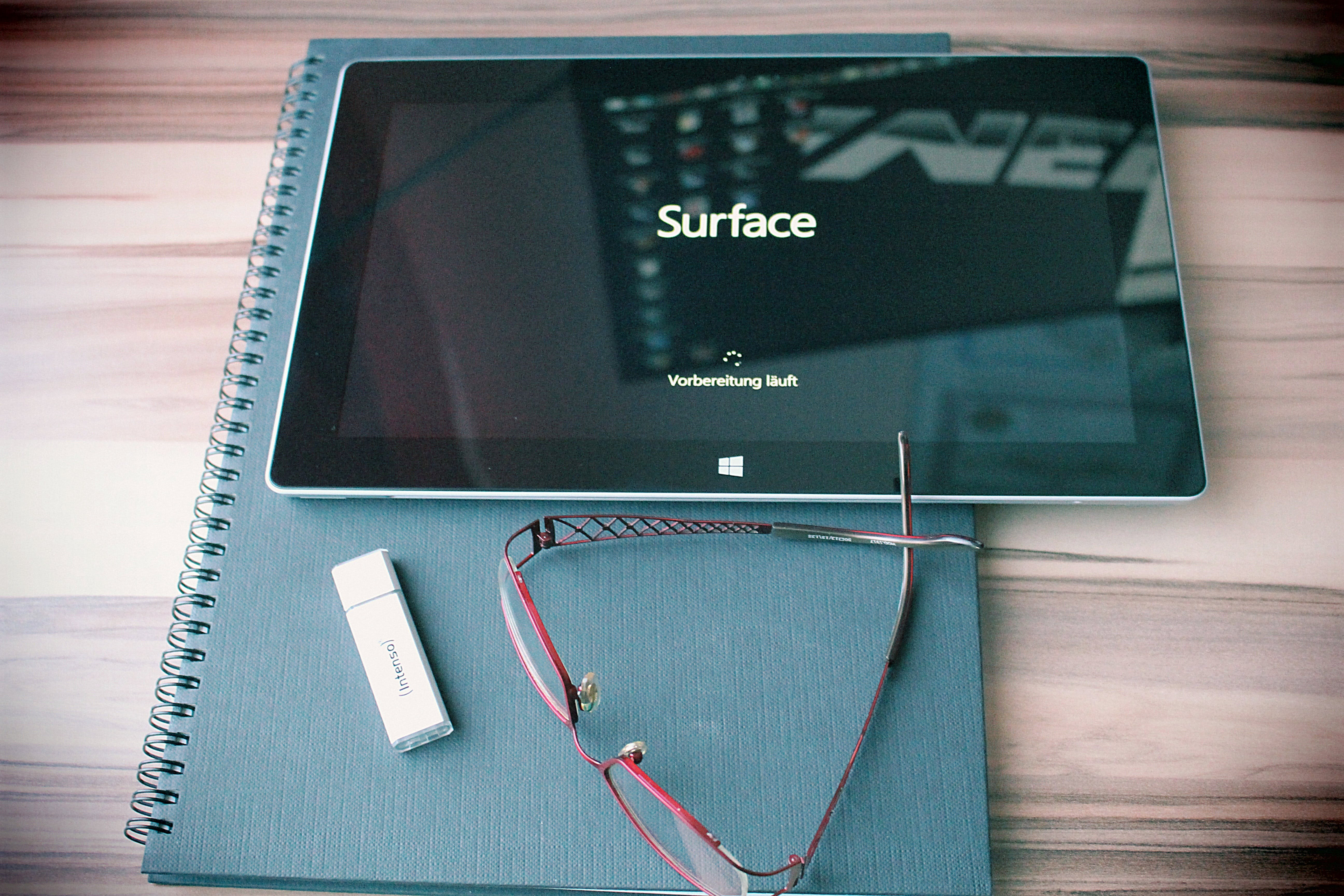 Free stock photo of tablet, glasses, surface, workplace