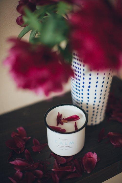 Pink Petals on Top of White Mug