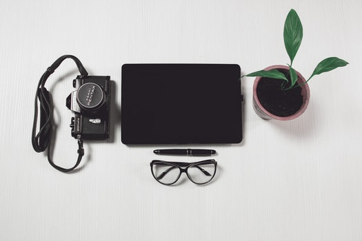 Free stock photo of camera, desk, office, pen