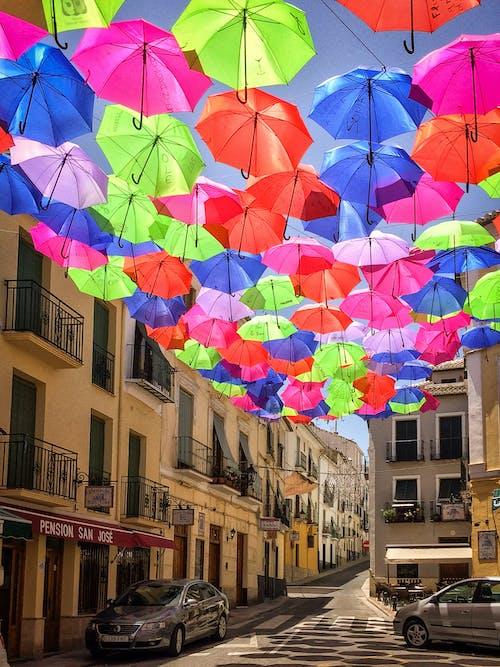 Free stock photo of bright colours, brolly, street, umbrellas