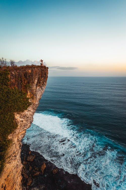 Aerial Photography of a Mountain Cliff by the Sea