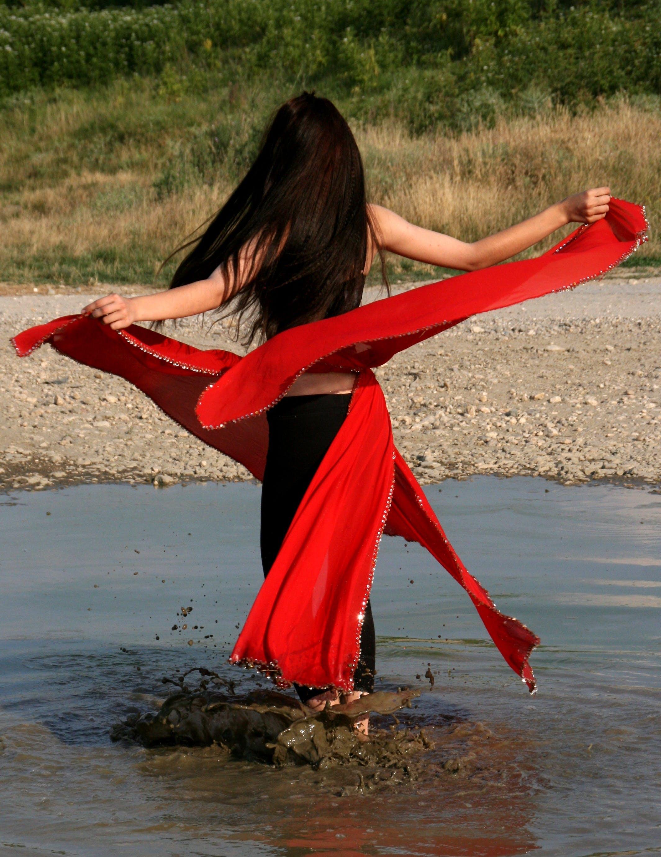 Free stock photo of red, girl, lake, motion