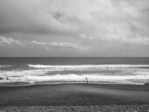 Free stock photo of alone, beach, black and white, waves