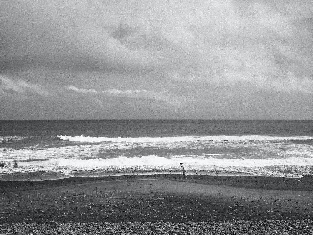 alone, beach, black and white