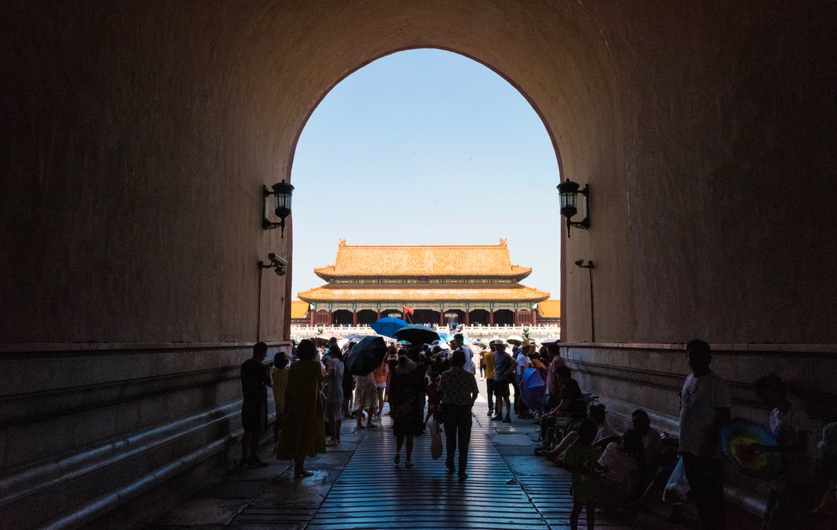 People visiting Forbidden City