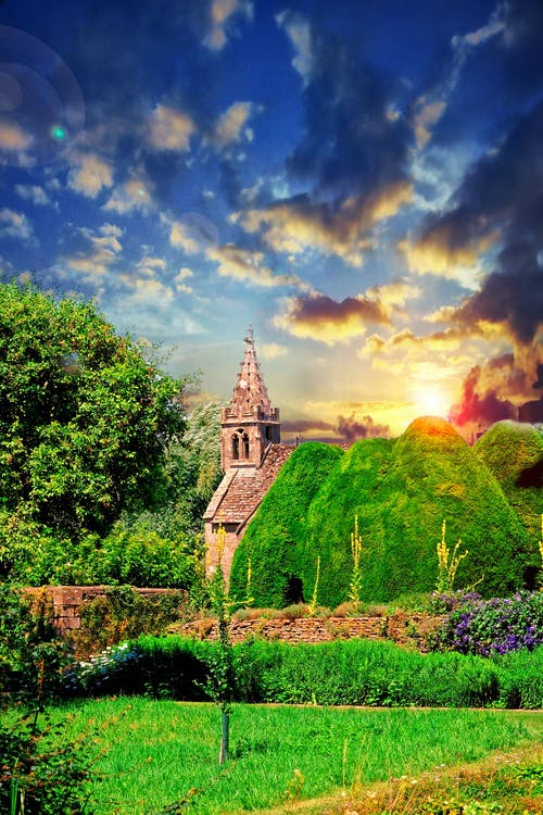 Free stock photo of Beautiful sunset, church, church building, church tower