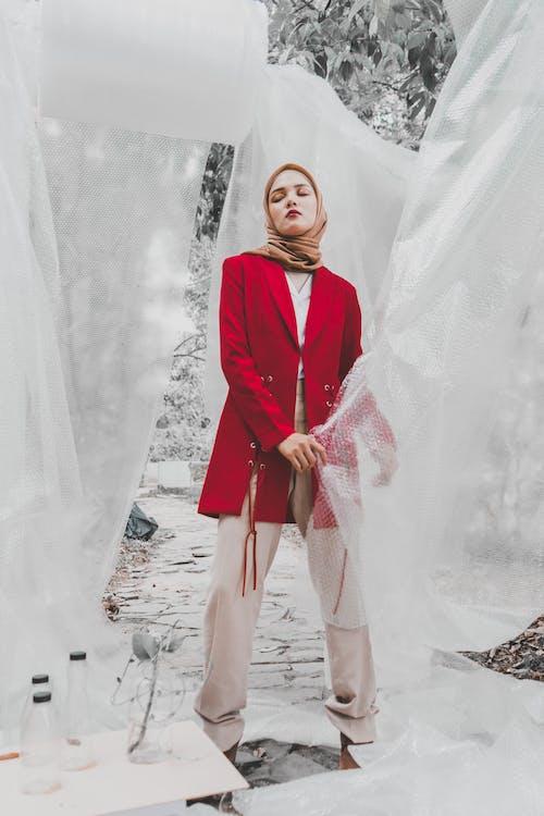 Woman Wearing Brown Hijab And Red Blazer