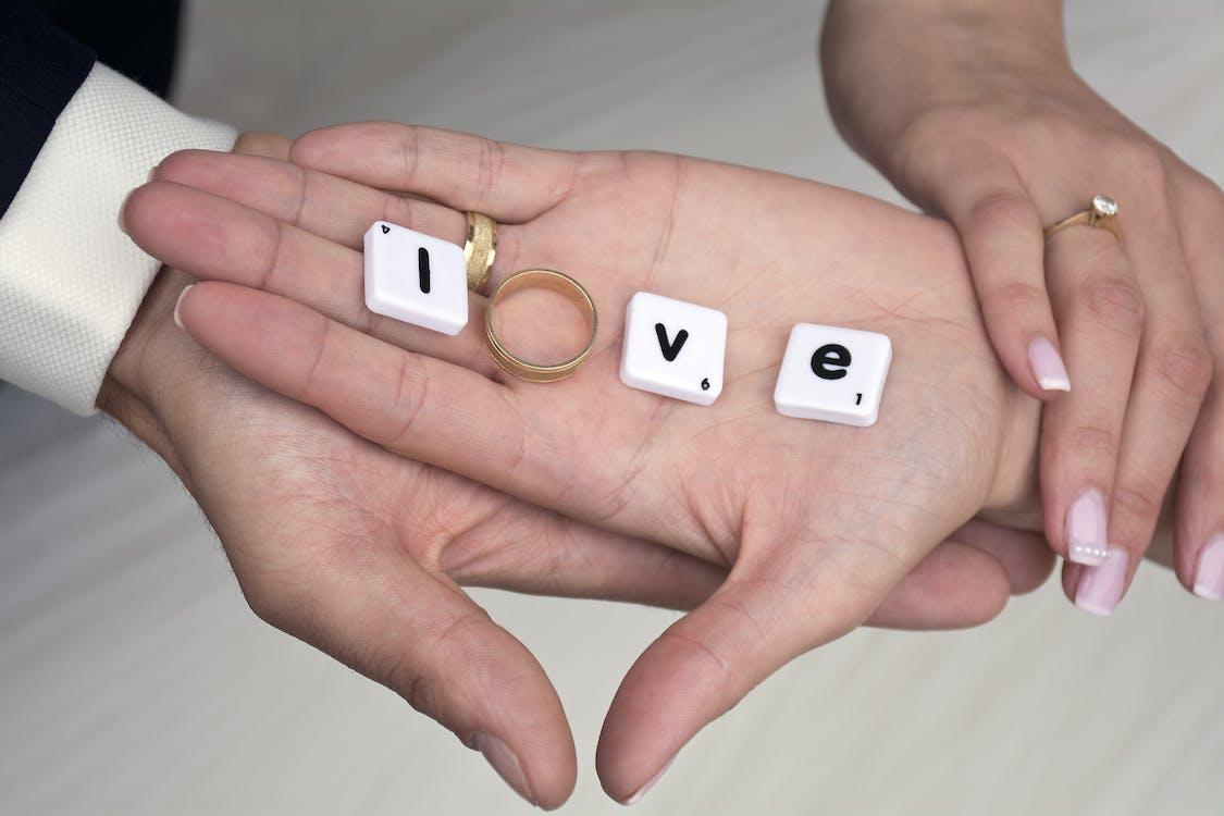 ekteskap, forelsket, hender