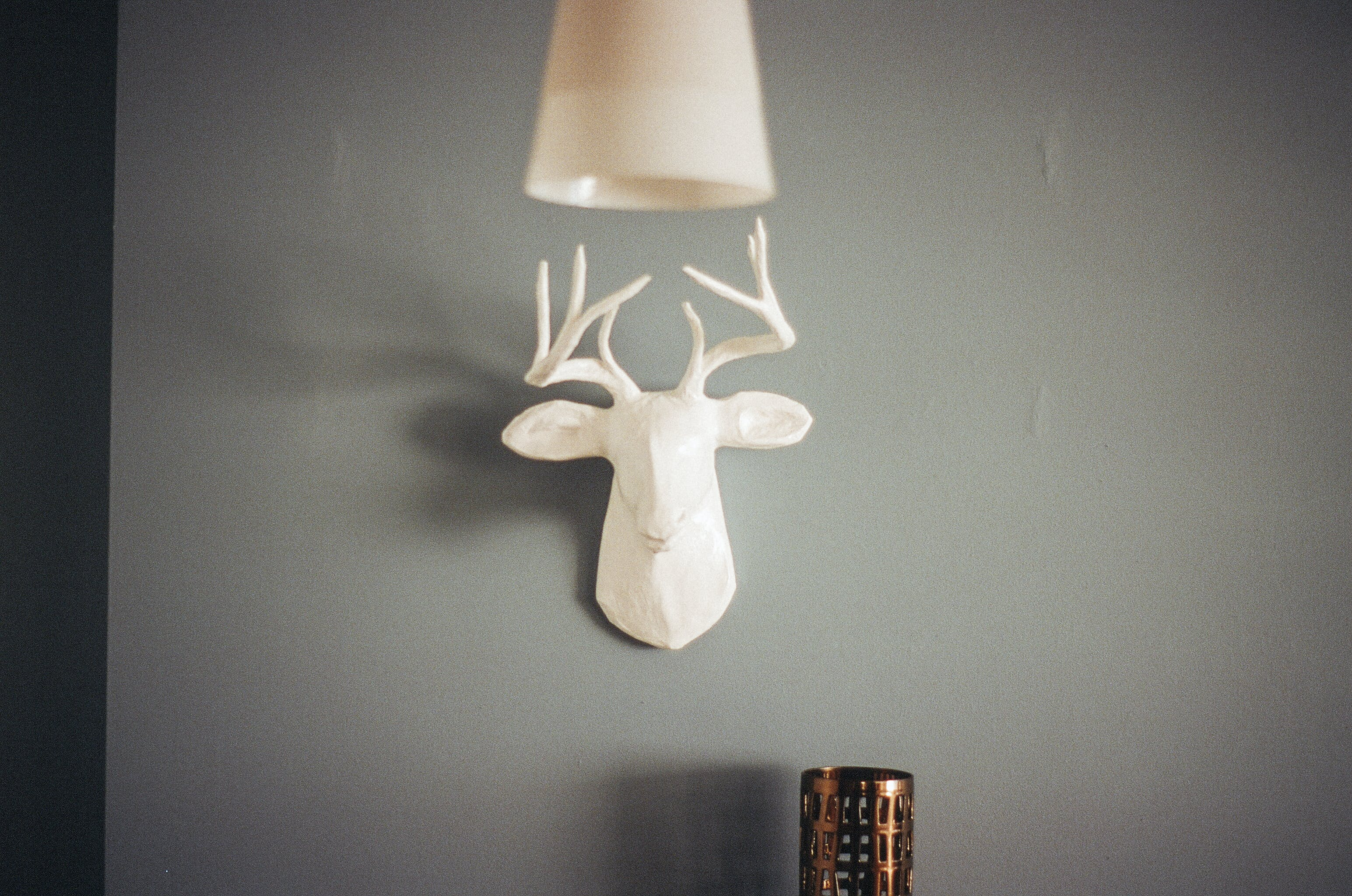 White Reindeer Bust Wall Decor
