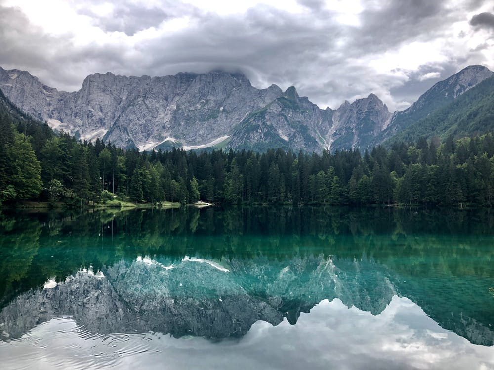 Photo of Lake With Reflections of Trees and Mountain