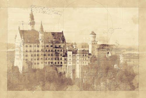 Free stock photo of Architectural Sketch, castle, Neuschwanstein Castle