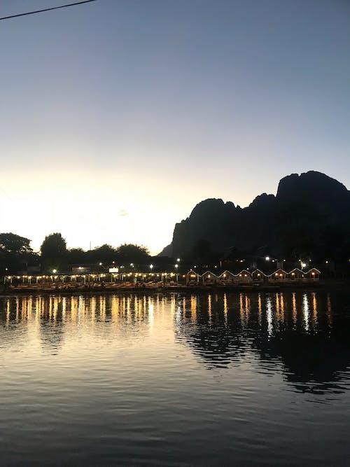 คลังภาพถ่ายฟรี ของ ตะวันลับฟ้า, ลาว, แม่น้ำ
