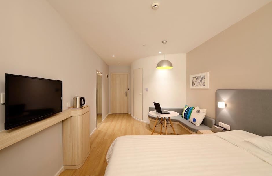 Flat Screen Television on Wall Facing Bed