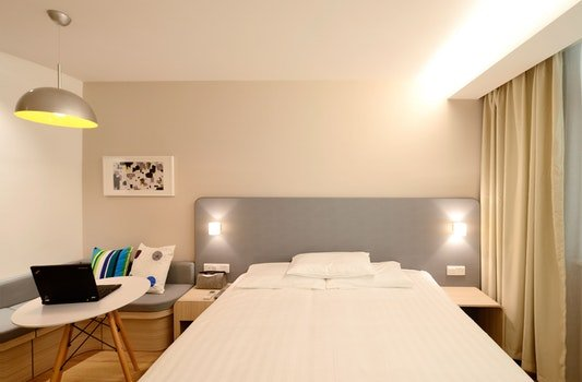 Free stock photo of light, hotel, laptop, bed