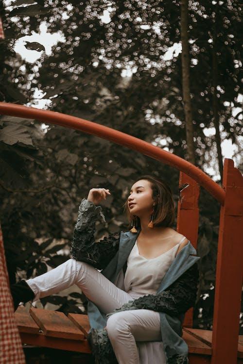 Free stock photo of asian women, autumn mood forest, businesswomen