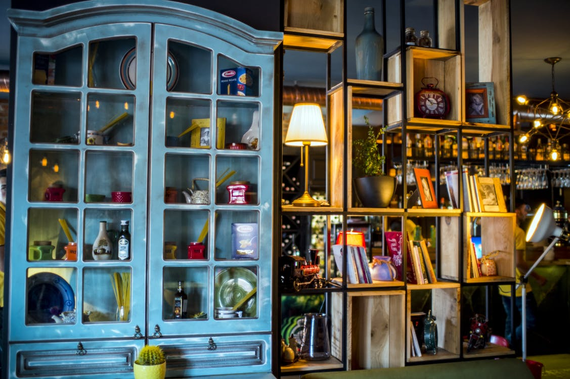 Blue Wooden Display Cabinet