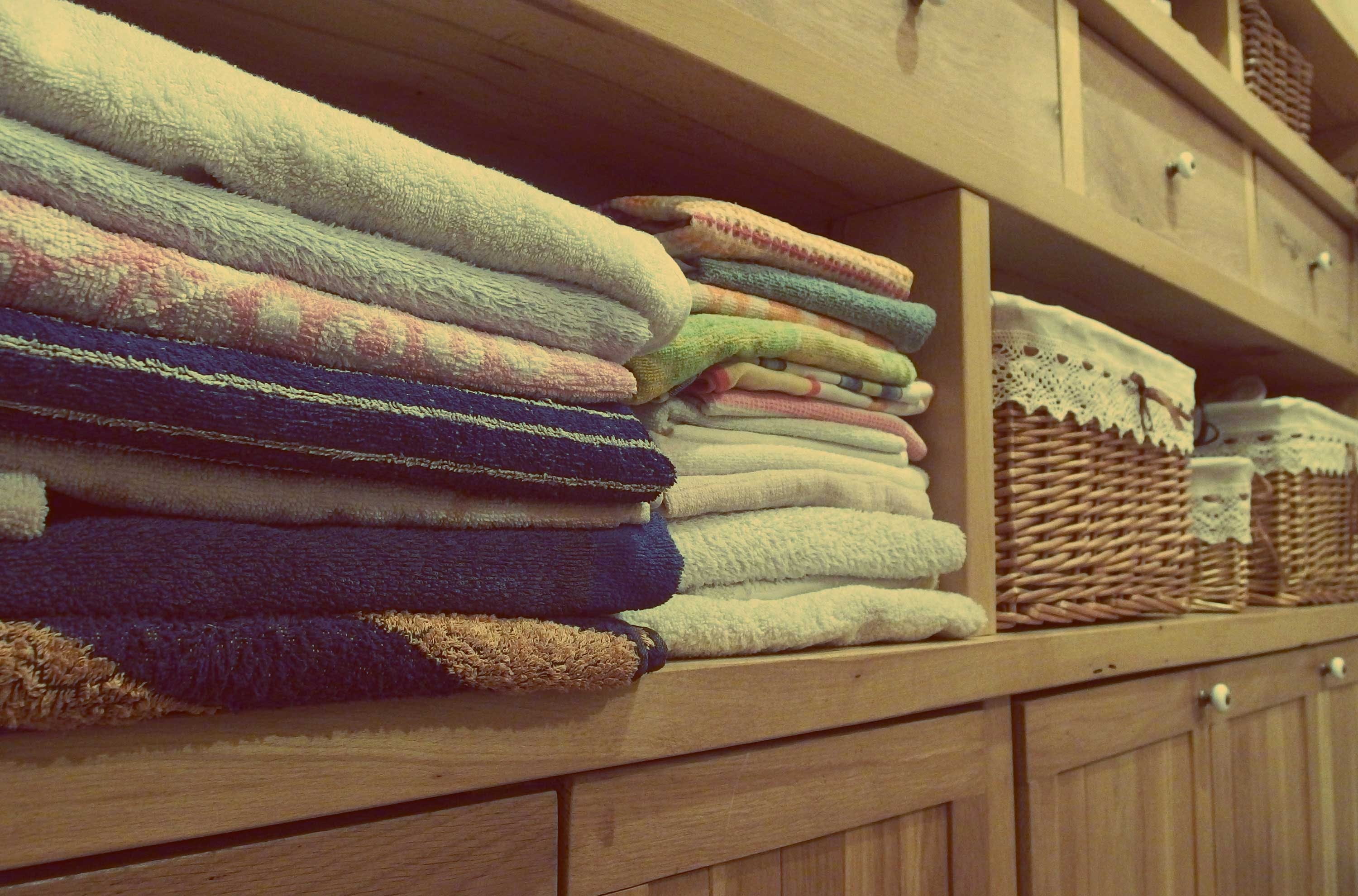 Stack of Towels on Rack