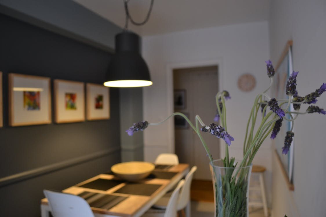Purple Lavender Flowers in Clear Glass Vase