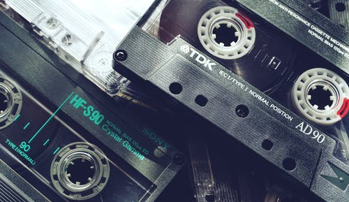 Black Audio Tapes In Close-Up View