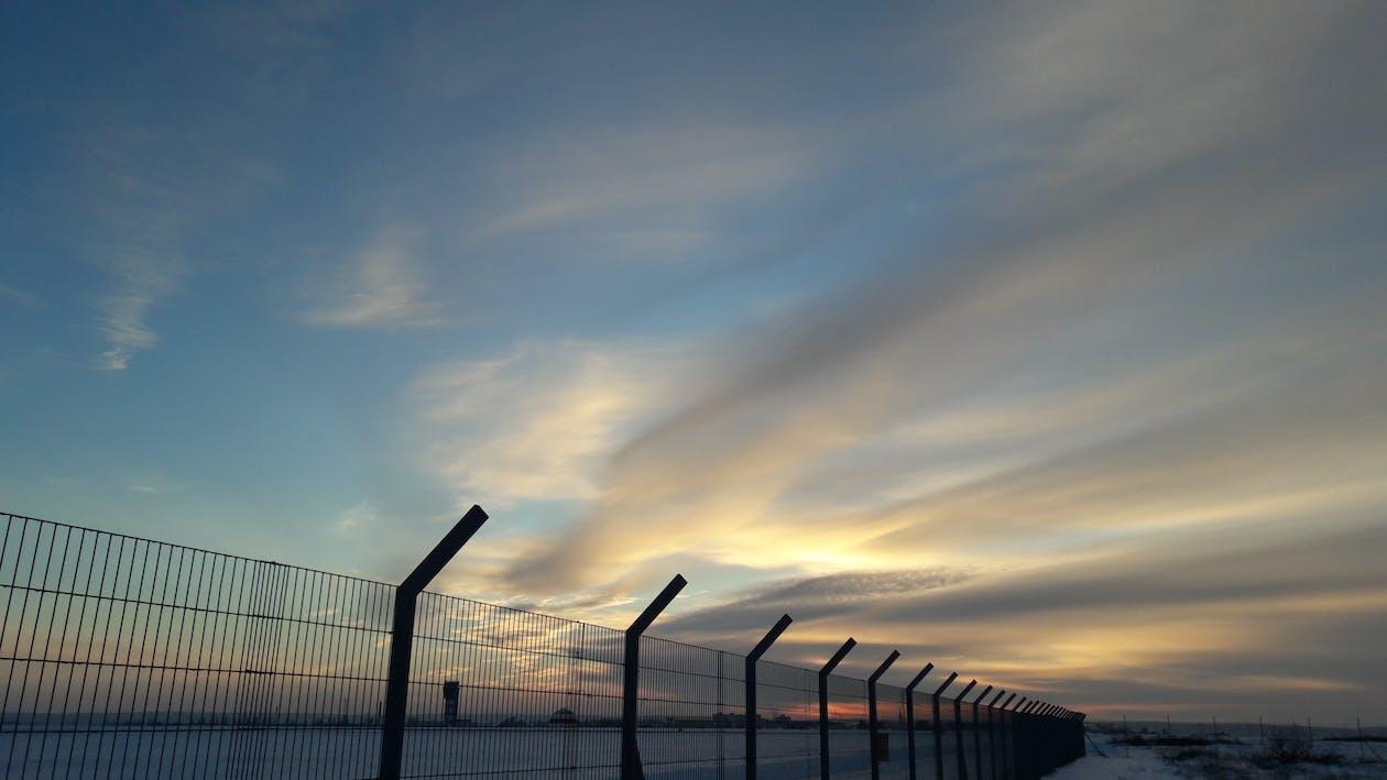 barrière, ciel, clôture