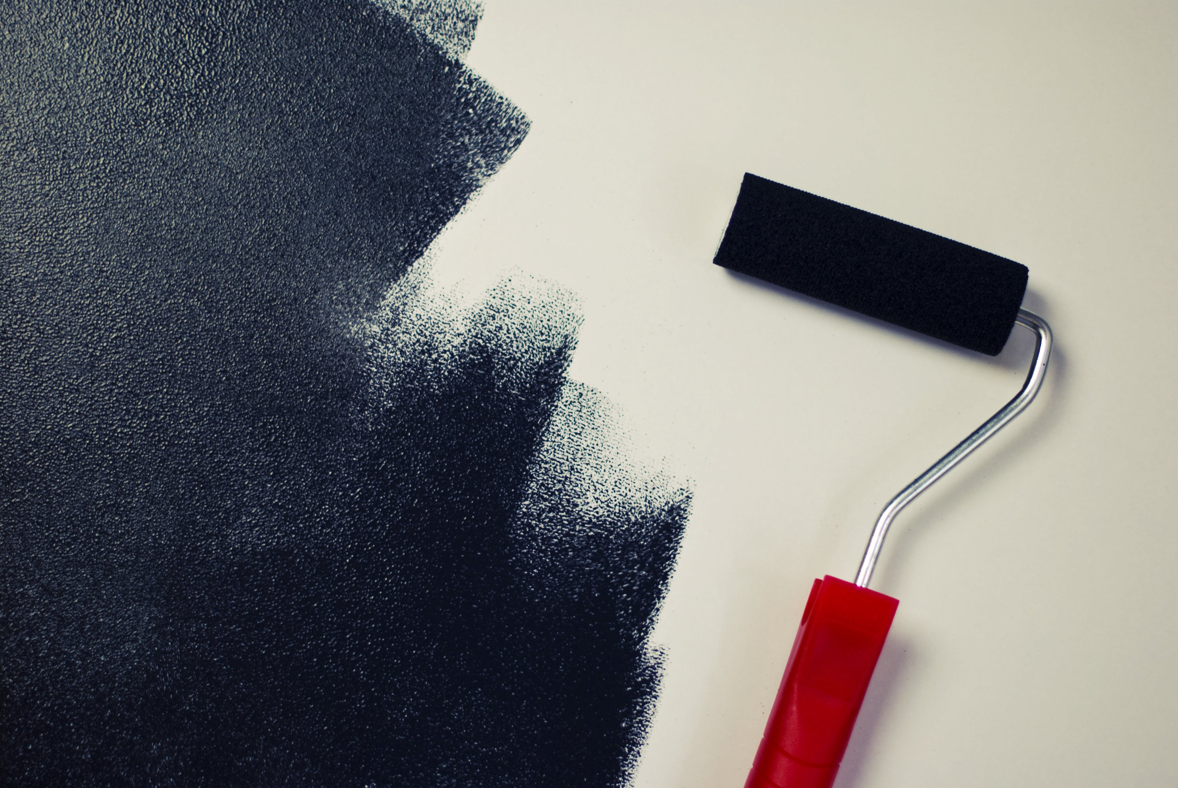 black, paint roller, painting