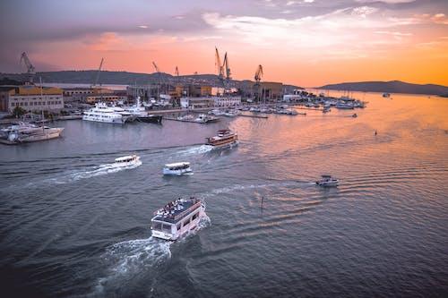 Fotobanka sbezplatnými fotkami na tému Chorvátsko, krásny západ slnka, leto, loď