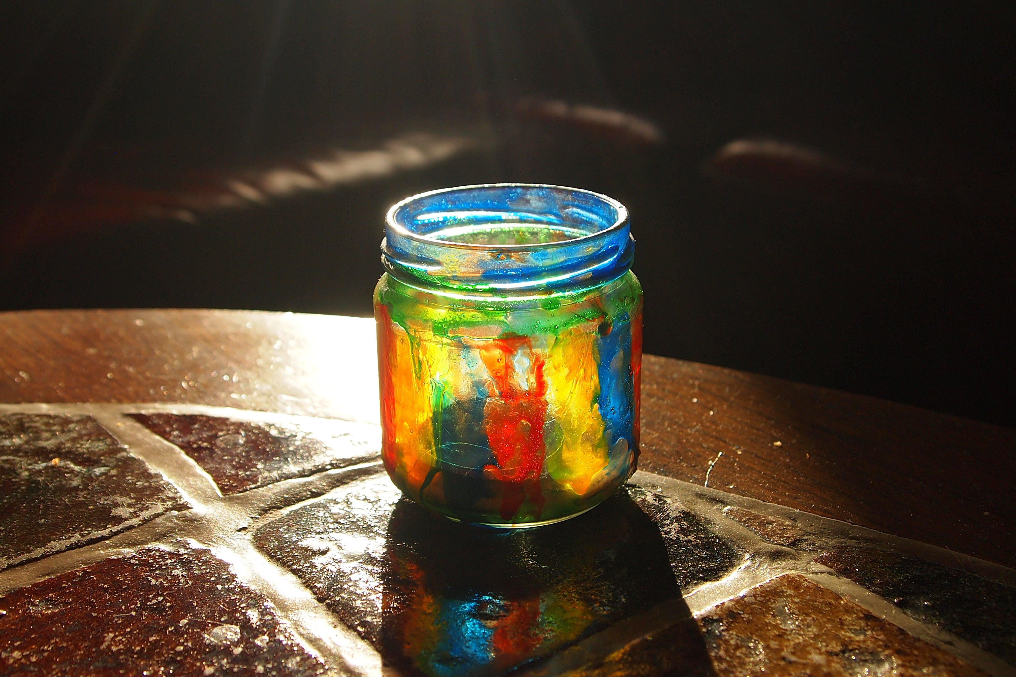 Free stock photo of glass, jar, coloured, dye