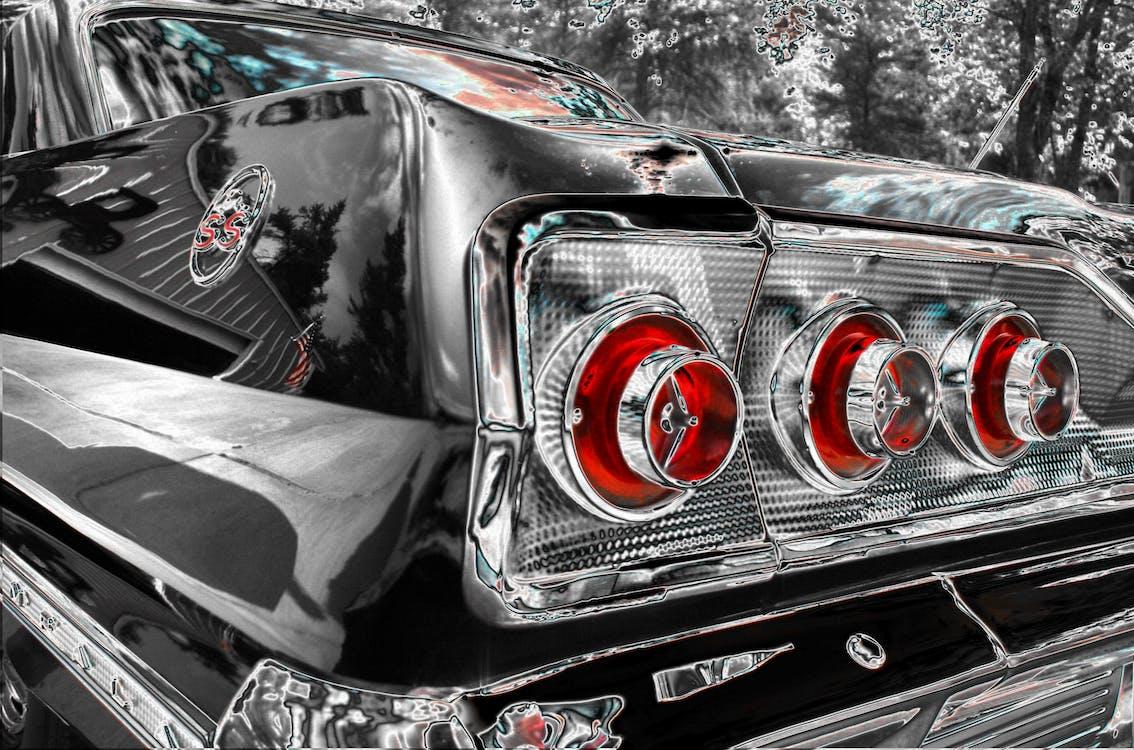 auto, automobilový, chrom