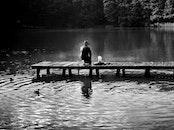 fishing, light, black-and-white