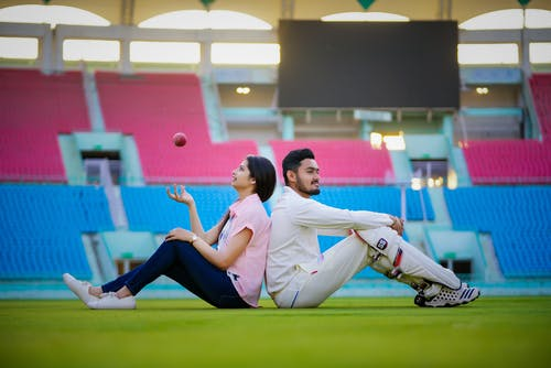 Free stock photo of couple, cricket, game