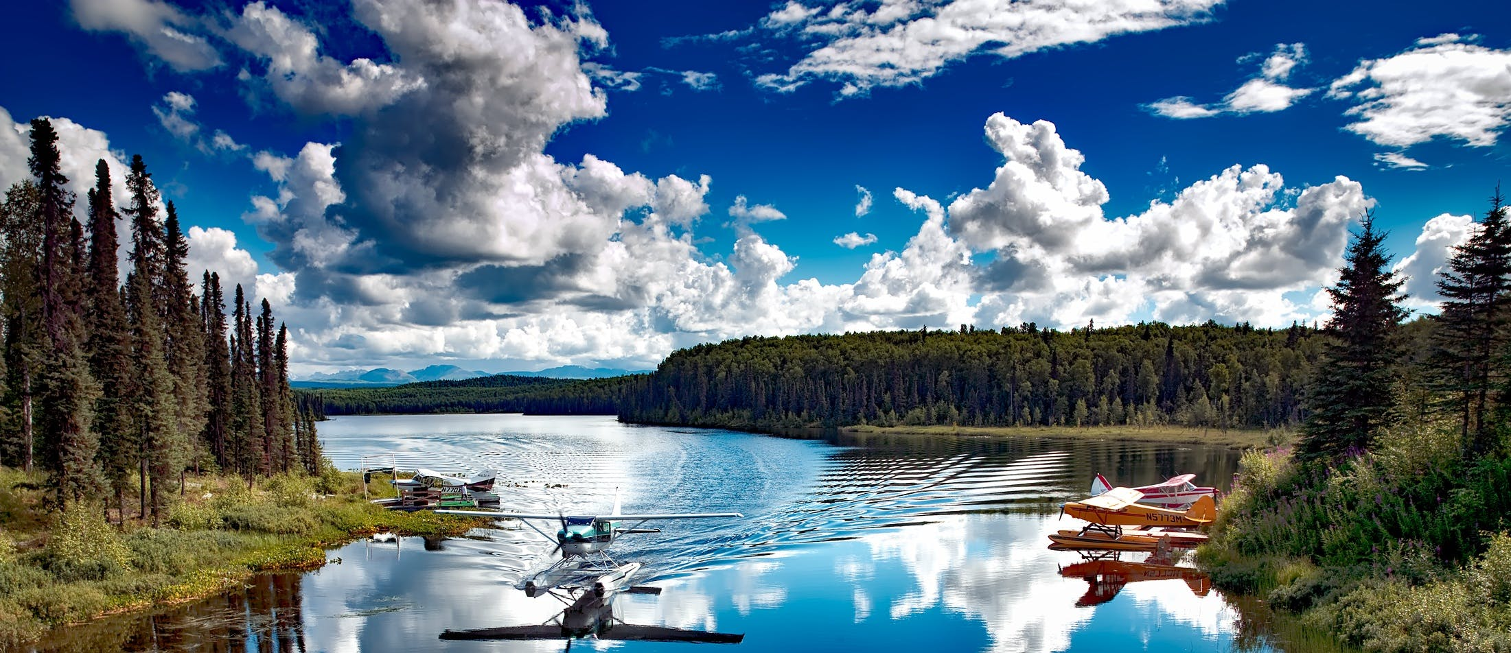 Biplane on Water Between Forest Under Blue and White Sky